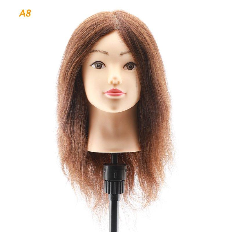 100 real hair training head practice hair mannequin head A8