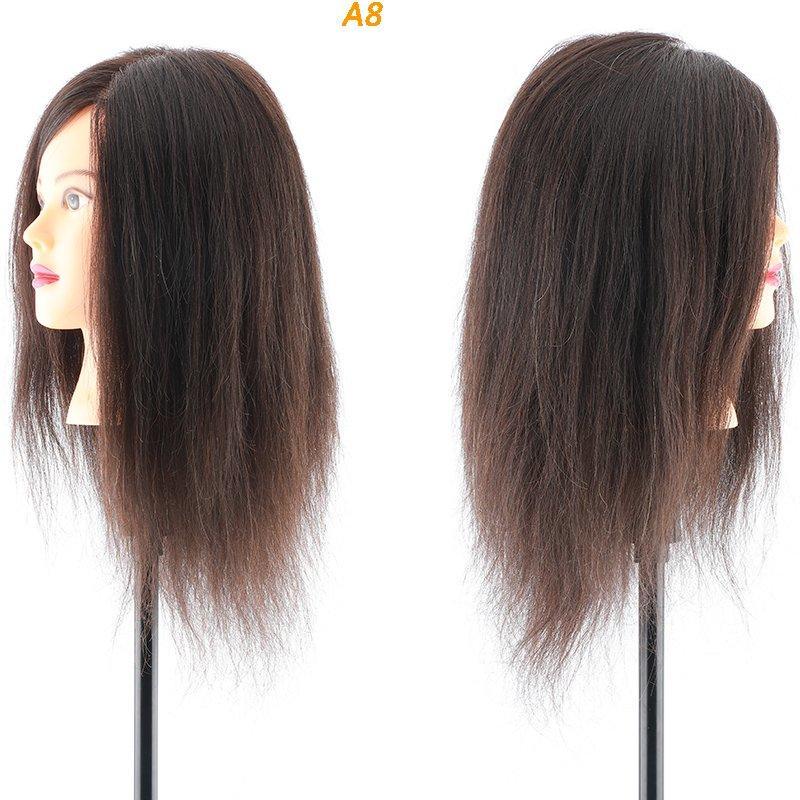 100 real hair training head practice hair mannequin head A8