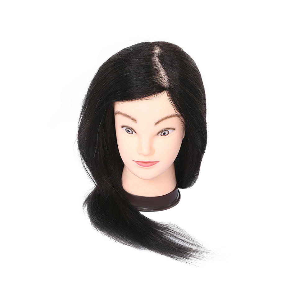 Hairdressing dolls head 90% real hair practice mannequin head AT
