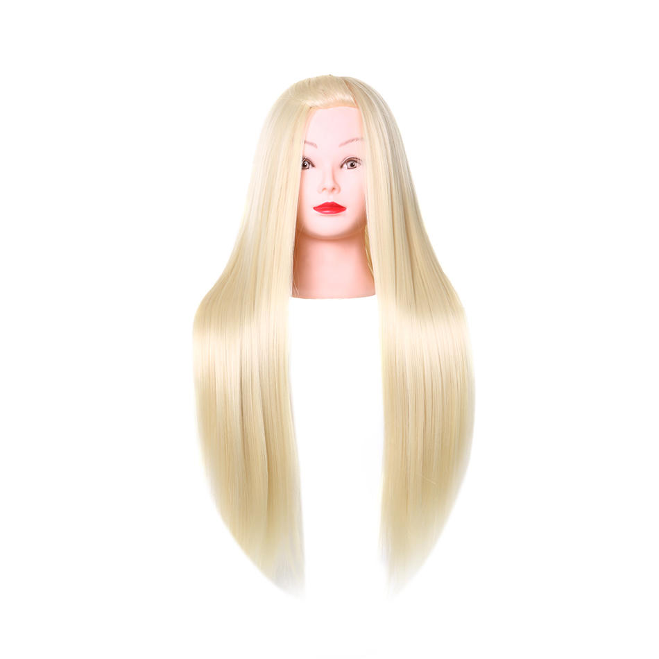 Human and synthetic blend wigs white  makeup doll head 613