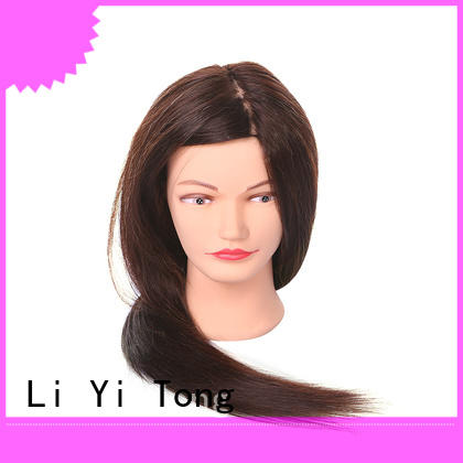 braiding black mannequin head with human hair for wholesale for girls Li Yi Tong