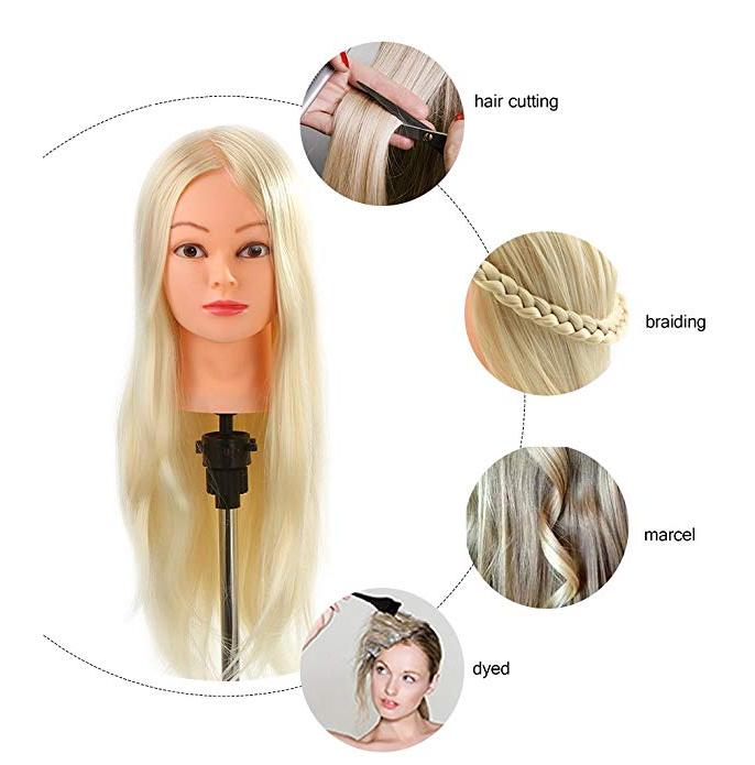 Long hair manikin head training mannequin head  human hair  -LT