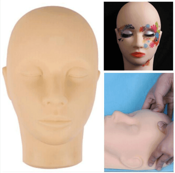 Training Mannequin Make Up Practice Flat Head Eye False Lashes Eyelash Extensions Lip Tatoo Practice Model Mannequin Manikin Hea